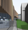High energy performance glass facades - 3D render of curtain wall with interstitial timber louvre option